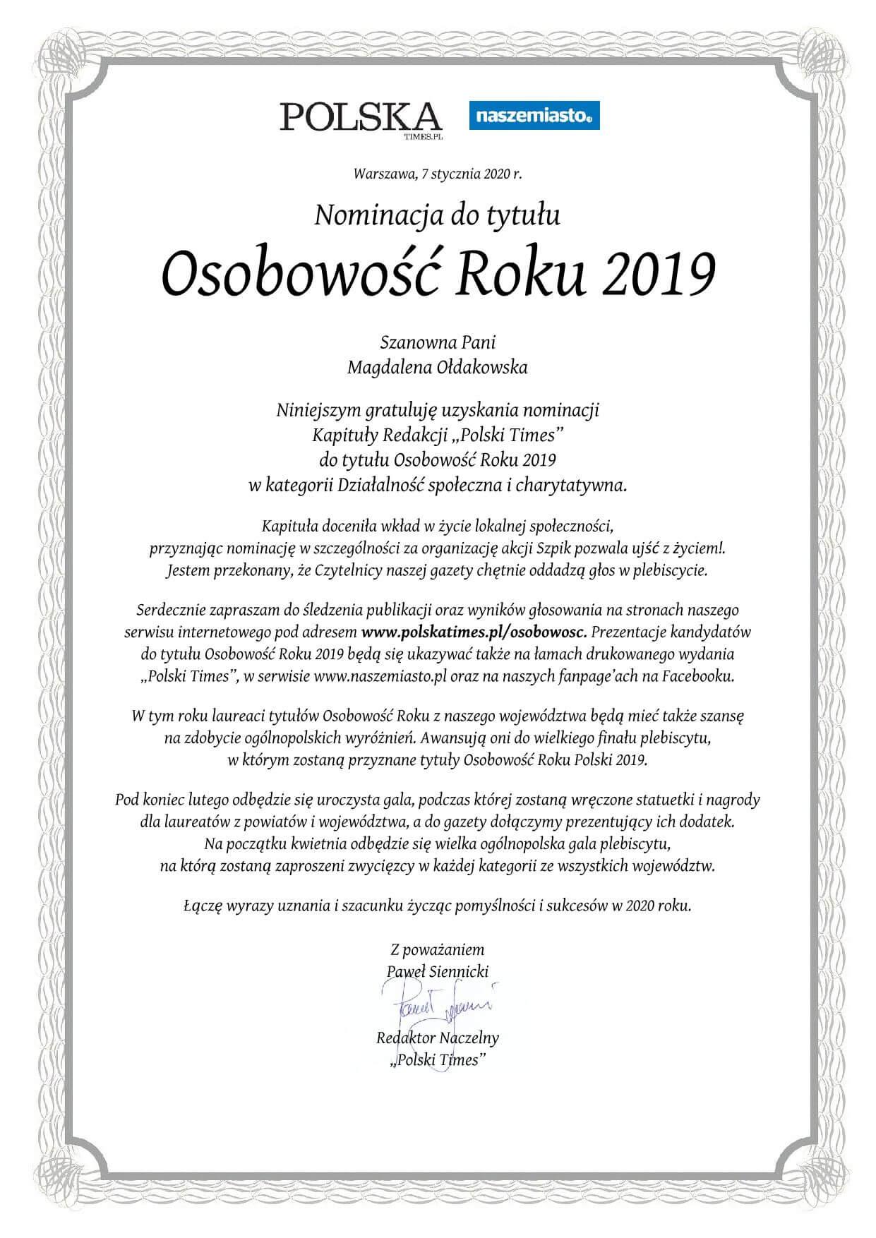 """Magdalena Ołdakowska nominowana dotytułu """"Osobowość Roku 2019"""" wogólnopolskim plebiscycie Polska Times!"""